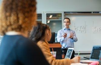 Professor Badeau teaching a class